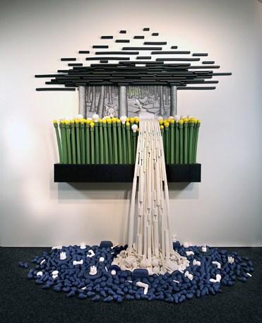"Jason Walker, ""Cascade"" 2014, porcelain, stoneware, underglaze, china paint, 10'x10'x10'."