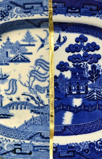 """Paul Scott, """"Cumbrian Blue(s), Wil low"""" detail, 2014, Staffordshire transferware collage, gold leaf, tile cement, epoxy resin, 12.5 x 10""""."""