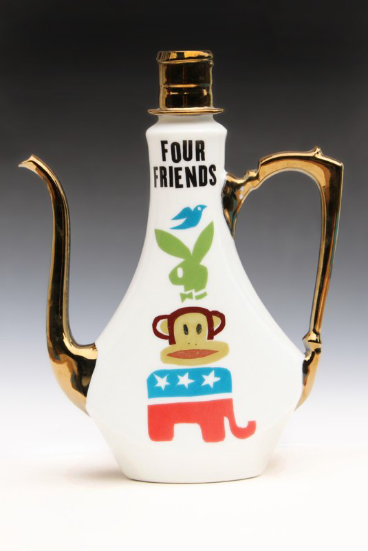 "Garth Johnson, ""Four Friends"" 2010, porcelain, 8 x 6.5 x 2.25""."