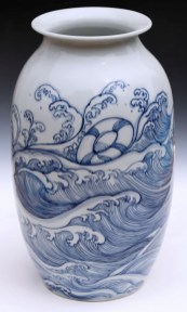 "Garth Johnson, ""Waves Vase"" detail, 2010, porcelain, 11.5 x 6.5 x 6.5""."