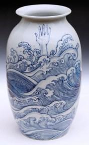 "Garth Johnson, ""Waves Vase"" detail, 2010, porcelain, 11.5 x 6.5 x 6.5""."