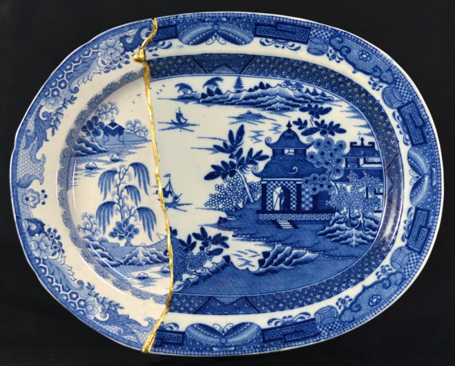 "Paul Scott, ""Cumbrian Blue(s), Garden No: 2 (after Turner and Stephenson) 2014, Staffordshire transferware with Chinese porcelain, gold leaf, tile cement, epoxy resin, 12.5 x 10.25""."