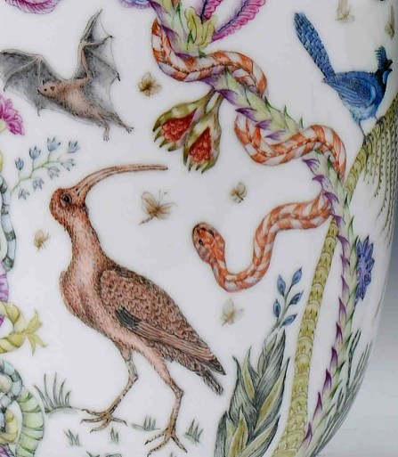 "Robin Best, ""The Florida Vases"" detail, 2014, porcelain, onglaze 'xin cai' painting, 10.5 x 6.25""."