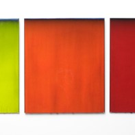 """Robert Silverman, """"Untitled Triptych"""" 2014, re-fired commercial tile fabricated in Jingdezhen, China, 36 x 28 x 1.5"""" (each)."""