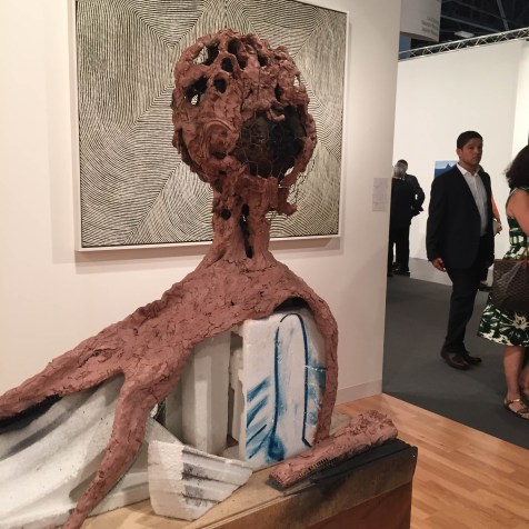 ART BASEL MIAMI BEACH | Salon 94 | Huma Bhabha, Carriage, 2014, Clay, wood, cork, wire, Styrofoam, leaf, paper, oilstick, acrylic paint