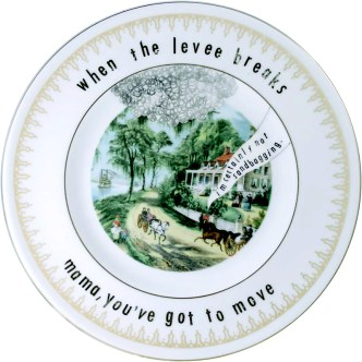 "Garth Johnson, ""Manifest Destiny (Currier and Ives - Home on the Mississippi 751)"" 2010, Bing & Grondahl limited edition Currier and Ives porcelain plate, decal, 8""."