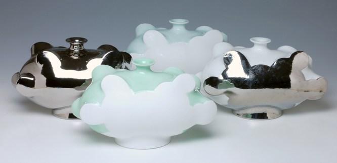 "Sam Chung, ""Cloud Bottles"" 2014, 6 x 10.5 x 5.5""."