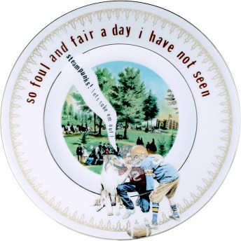 """Garth Johnson, """"Manifest Destiny (Currier and Ives - Central Park, The Drive #761)"""" 2010, Bing & Grondahl limited edition Currier and Ives porcelain plate, decal, 8""""."""