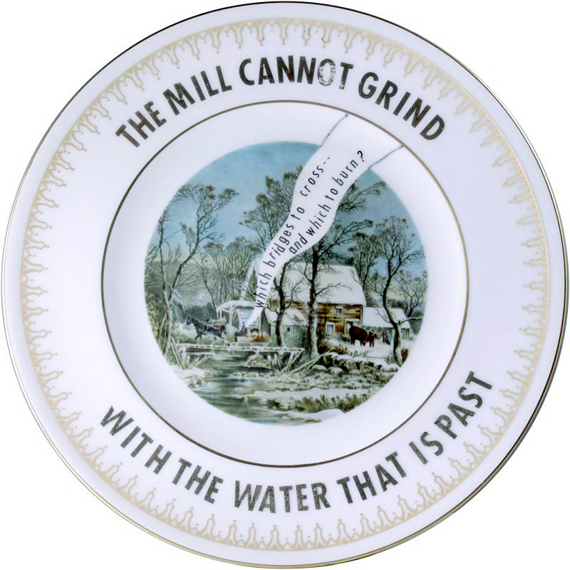 """Garth Johnson, """"Manifest Destiny (Currier and Ives - The Old Grist Mill #753)"""" 2010, Bing & Grondahl limited edition Currier and Ives porcelain plate, decal, 8""""."""
