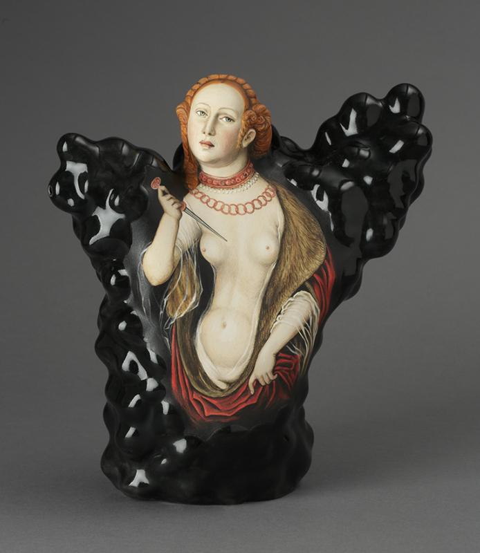 "Kadri Pärnamets, ""Question of Honor — Lucretia, after Lucas Cranach the Elder, porcelain, slip, glaze, 11 x 10.5 x 5"". photo: John Polak"