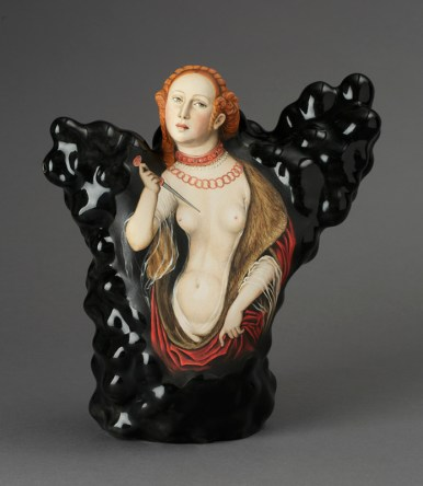 "Kadri Pärnamets, ""Question of Honor — Lucretia, after Lucas Cranach the Elder, porcelain, slip, glaze, 11 x 10.5 x 5"". photo: John Polak"