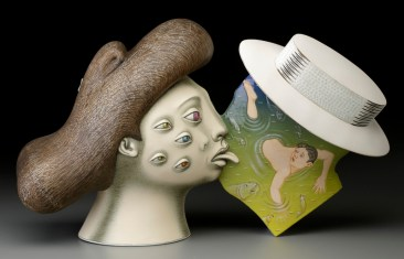 "Sergei Isupov, ""Sight Unseen"" 2015, porcelain, slip, glaze, 11 x 19 x 6.5""."