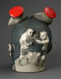 """Sergei Isupov, """"Shroud of Turin"""" 2015, porcelain, slip, glaze, 12 x 9 x 10""""."""