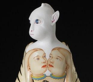"Sergei Isupov, ""Winter–Summer,"" 2015, porcelian, slip, glaze, 16.5 x 8 x 8.5""."