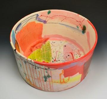 "Lauren Mabry, ""Cylinder"" 2015, red earthenware, slip, glaze, 8.5 x 16 x 16""."