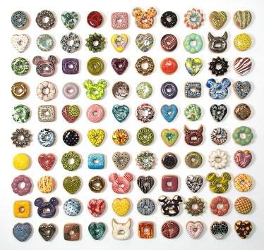 """Jae Yong Kim, """"Donut Madness"""" 2013, ceramic, lustre glaze, glaze, Swarovski crystals, 57 x 57 x 1.5""""."""