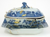 "Bouke de Vries, ""The Repair II"" 2014, 18th century Chinese porcelain tureen stand, tureen cover, and mixed media, 14 x 10.5 x 10""."