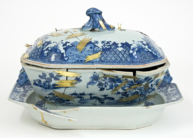 """Bouke de Vries, """"The Repair II"""" 2014, 18th century Chinese porcelain tureen stand, tureen cover, and mixed media, 14 x 10.5 x 10""""."""