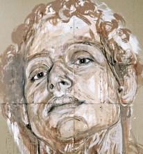 """Cristina Córdova, """"Dibujo en Barro"""" 2015, clay, pigments, 96 x 72""""."""