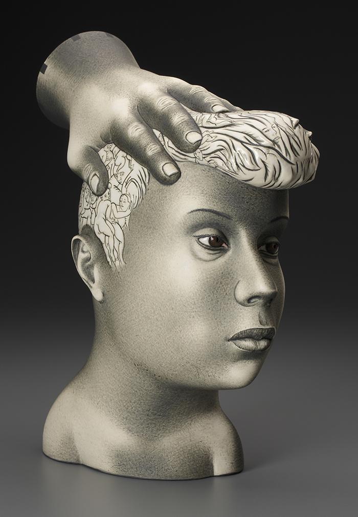 "Sergei Isupov, ""Inspiration"" 2016, porcelain, slip, glaze, 11.5 x 4 x 12""."