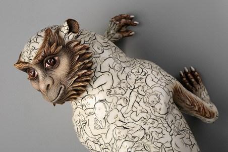 "Sergei Isupov, ""Distraction"" detail, 2016, porcelain, slip, glaze, 25 x 10.5 x 7.5""."
