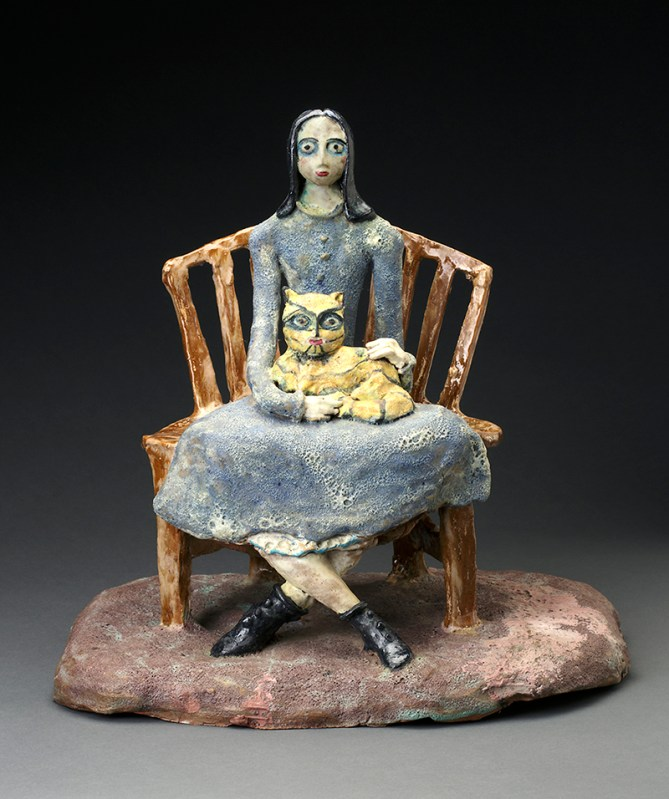 "Beatrice Wood, ""Not Married"" 1965, clay, glaze, 16 x 17 x 13""."