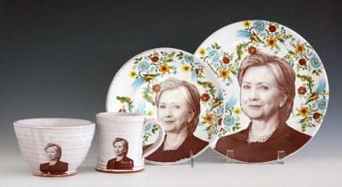"Justin Rothshank, ""Hillary Clinton Tableware Set"" 2016, earthenware, glaze, ceramic decals, dinner plate: 11"", salad plate: 9"", bowl: 3.5 x 6"", mug: 4 x 3.5""."