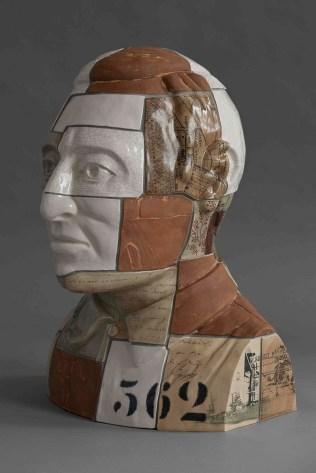 "Stephen Dixon, ""Restoration: Carl Von Ossietsky"" 2013, decals, earthenware, 25.5 x 18.5""."