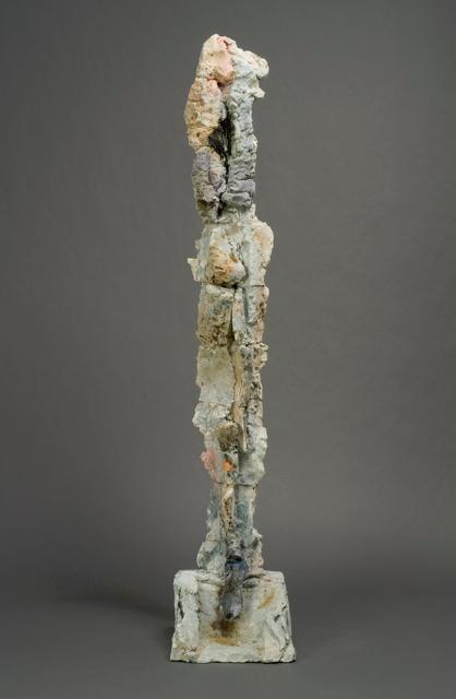 "Stephen De Staebler, ""Figure Column XLII"" 2005, clay, 72 x 14 x 14""."