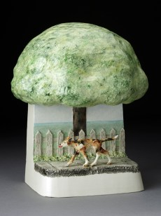 "Jack Earl, ""Morning Dog Walk"" 1979, earthenware, glaze, 11 x 8.5 x 5""."