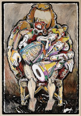 "Viola Frey ""Lap Full of Figurines (Self Portrait)"" 1981, oil and acrylic paint, paper, 60 x 40"" framed."