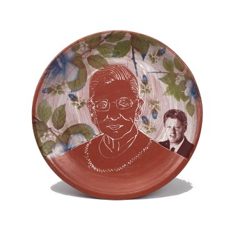 "Brooke and Justin Rothshank, ""Ruth Ginsburg Plate"" 2016, earthenware, glaze, 16""."