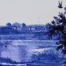 "Paul Scott, ""Scott's Cumbrian Blue(s), American Scenery, Hudson River, Indian Point No. 2A"" 2013–4, decal on Portmeirion platter, 13.5 x 9.25 x 1""."