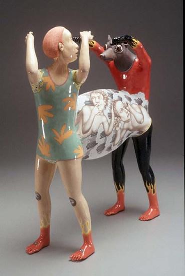 "Sergei Isupov, ""Explosive Situation"" 2004, porcelain, 22 x 17 x 6.5""."