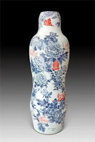"""Sin Ying Ho, """"World Garden no. 2"""" 2014, Porcelain, hand-painted cobalt pigment, transfer decal, 48 x 18 x 18""""."""