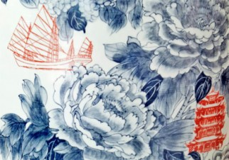 "Sin Ying Ho, ""World Garden no. 2"" 2014, Porcelain, hand-painted cobalt pigment, transfer decal, 48 x 18 x 18""."