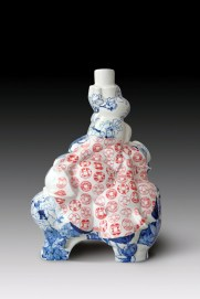 "Sin Ying Ho, ""Source of Wealth"", 2012, Porcelain, hand-painted cobalt pigment, transfer decal, 27 x 20 x 15""."