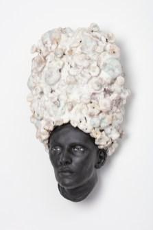 "Cristina Córdova, ""Cabeza VII"" 2018, ceramic, 15 x 8.5 x 5.5""."