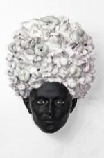 "Cristina Córdova, ""Cabeza VIII (Head with Fruit and Flowers)"" 2019, ceramic, 11 x 8 x 5""."