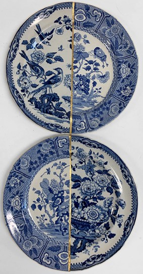 """Paul Scott, 'Scott's Cumbrian Blue(s), The Garden Series, Ind Birds, and Ian No Birds' 2019, Collage with kintsugi, Spode's 'Indian' with unknown early 19th century transferware plate, 9.875 x 9.875 x 1""""."""