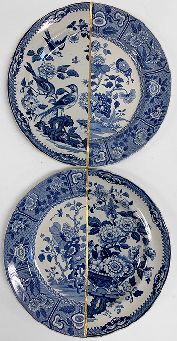 "Paul Scott, 'Scott's Cumbrian Blue(s), The Garden Series, Ind Birds, and Ian No Birds' 2019, Collage with kintsugi, Spode's 'Indian' with unknown early 19th century transferware plate, 9.875 x 9.875 x 1""."