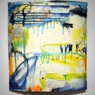 "Lauren Mabry, ""Curved Planes"", 2014, red earthenware, slips, glaze, 23 x 21 x 4""."