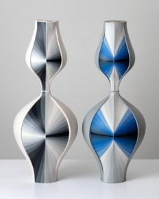 """Peter Pincus., """"Grey Contrasting Gradient Vase"""" (Front) 2018, colored porcelain and gold luster, 20 x 16 x 8""""."""