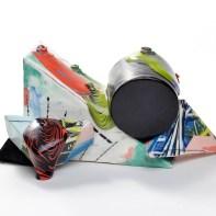 """Lauren Mabry, """"Glaze Flow Blocks 20.01:, 2020, earthenware, slip, glaze, 6.5 x 13. x 9""""."""