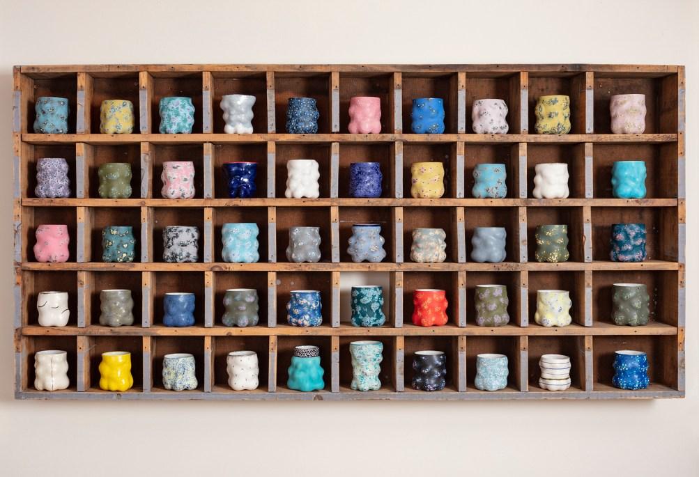 "Kadri Pärnamets, ""Cups"", 2020, porcelain, slip, glaze, ~4 x 4 x 4"" (each)"