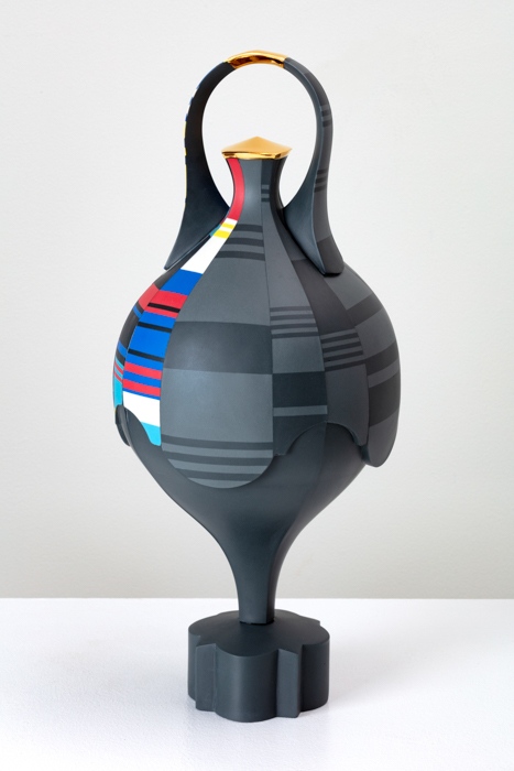 "Peter Pincus, 'Scratch Spin Amphora' 2020, colored porcelain, gold luster, 18 x 8 x 8"" (each)."
