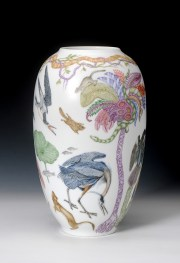 "Robin Best, ""Audobon Vase"" 2017, porcelain, over-glaze painting, 15.75 x 10""."