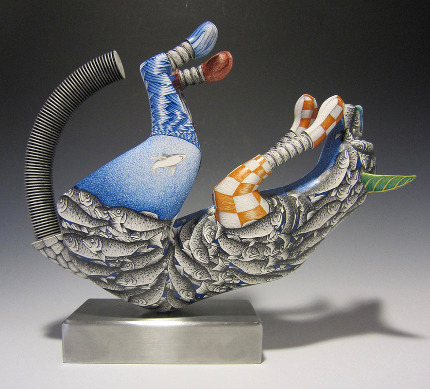 """Jason Walker, """"Falling Into a Fish Ball"""" 2017, porcelain, china paint, stainless steel, 14 x 17 x 5""""."""