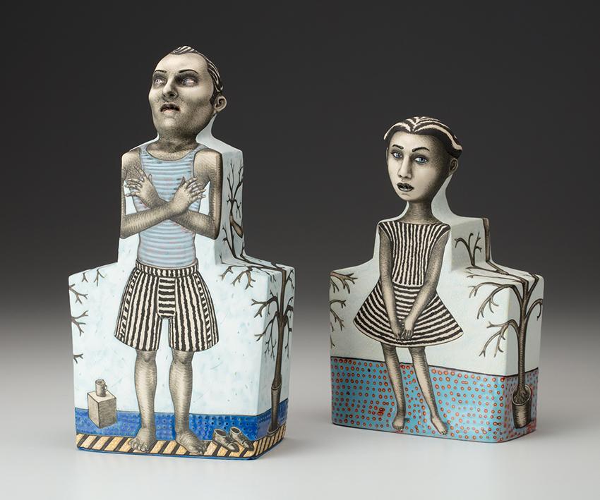"Sergei Isupov, ""In Their Eyes"" 2018, porcelain, slip, 8.5 x 5.5 x 2.5""."