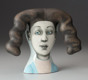 "Sergei Isupov, ""Watchman in the Wind"" 2018, porcelain, slip, 7.5 x 9.5 x 3""."